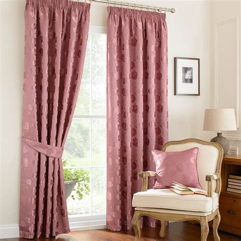 Linby Rose Pink Ready Mades Pencil Pleat Curtains   Pencil