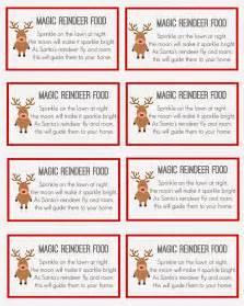 Printable magic reindeer food labels reindeer food poem printable