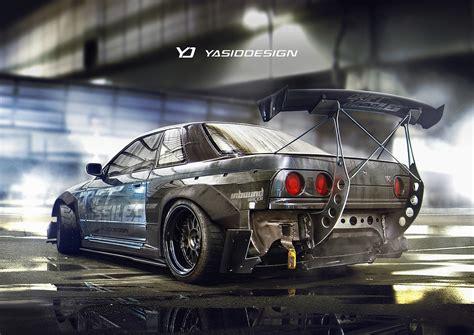 custom nissan skyline drift yasiddesign render artwork car tuning nissan