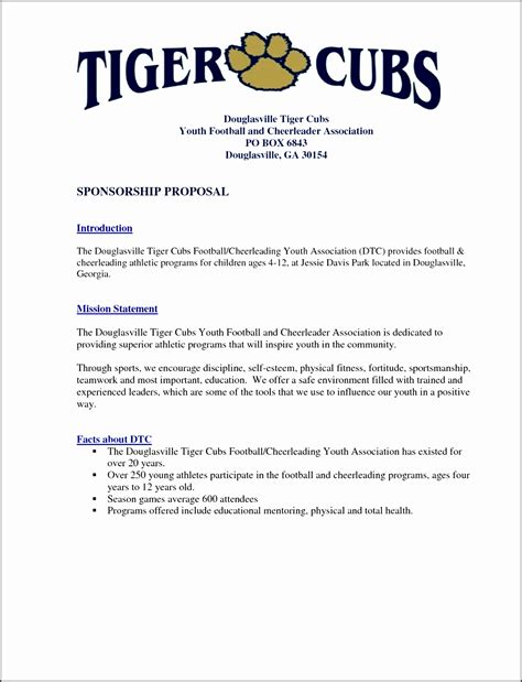 Free Sponsorship Letter Template For Sports