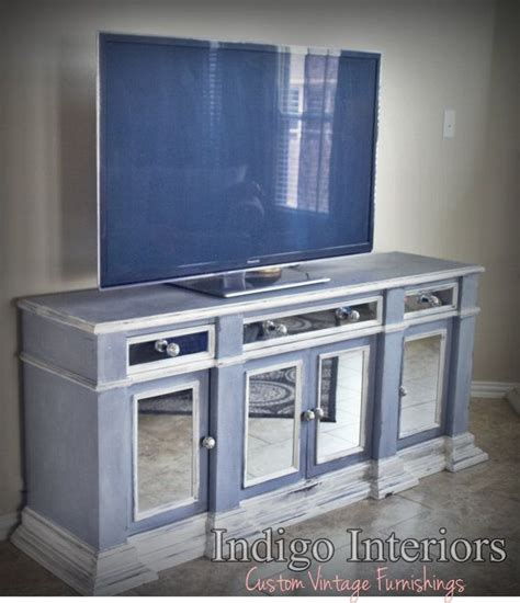mirrored tv stand vintage gray blue and white mirrored buffet tv stand