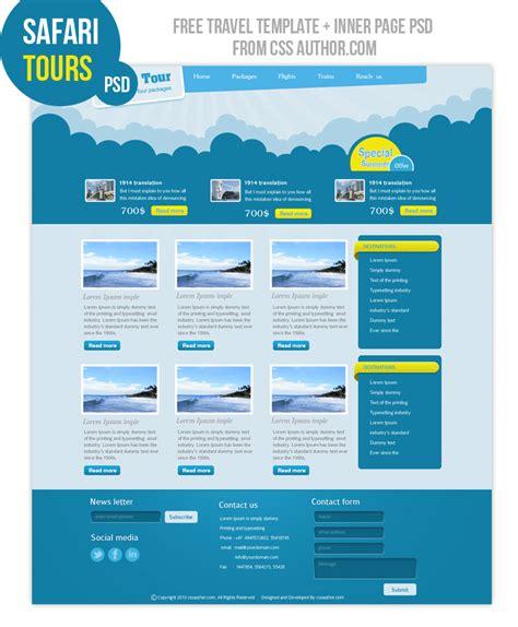 Premium Travel Web Design Template Psd For Free Freebie No 6 Free Design Templates