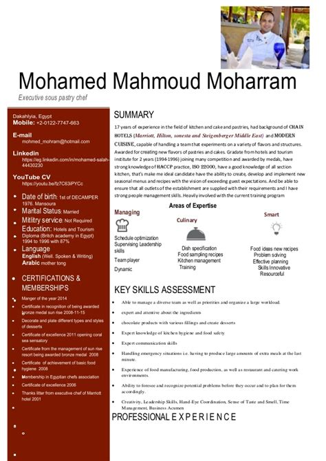 cover letter pastry chef exles cv pastry chef mohamed mahmoued
