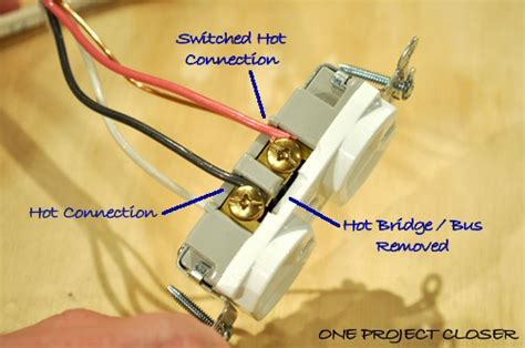 how to wire a half switched outlet one project closer