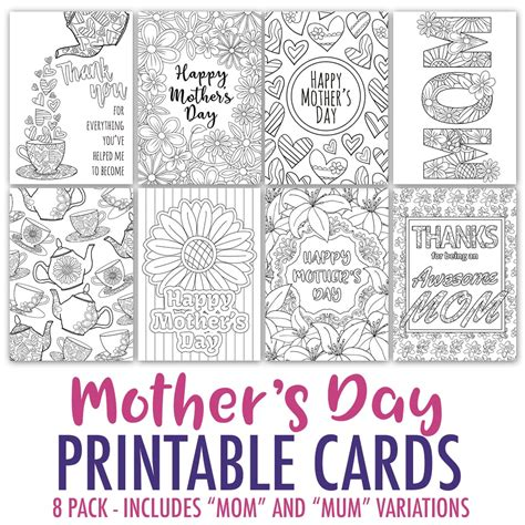 mothers day card templates to color free free s day card printable template