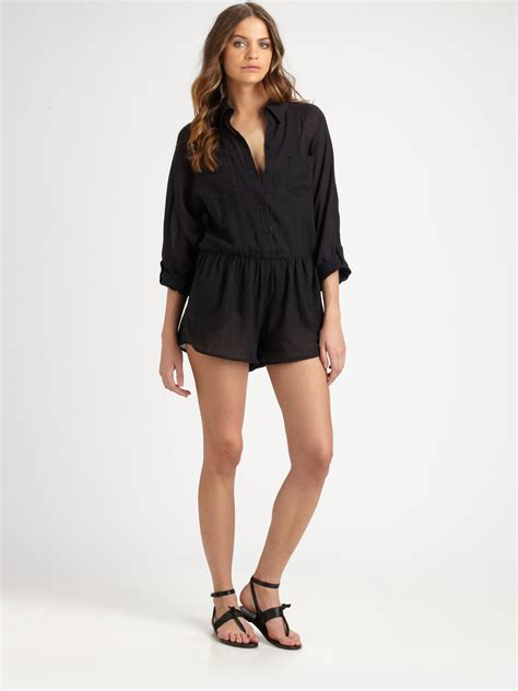 lyst zimmermann short jumpsuit  black