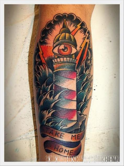 new school lighthouse tattoo arm new school lighthouse wave tattoo by elektrisk tatovering