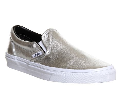 vans classic slip on shoes silver metallic unisex sports