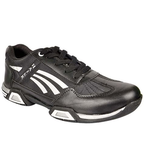 black leather sports shoes go bro black synthetic leather sport shoes price in india