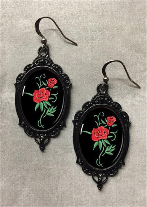 rockabilly rose tattoo glass cameo rockabilly earrings