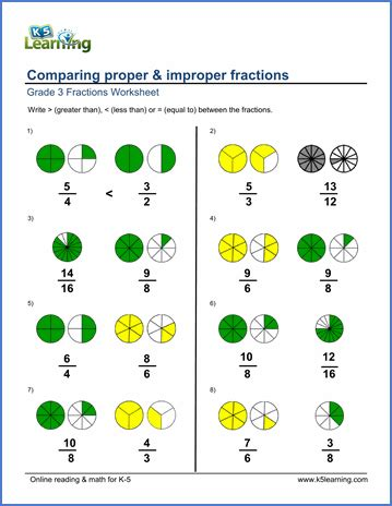 adding fractions visually third edition colour books proper improper fractions worksheets matching up