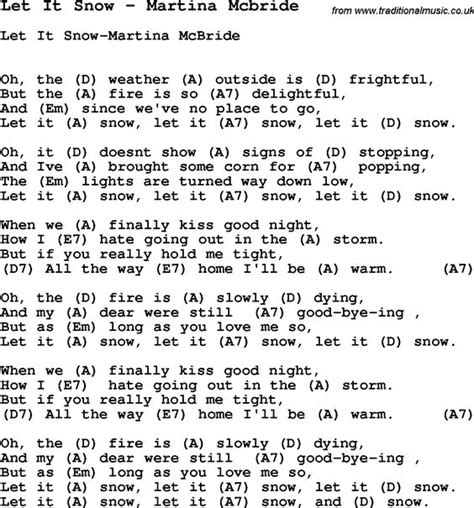 song lyrics martina mcbride martina mcbride let it snow and snow on
