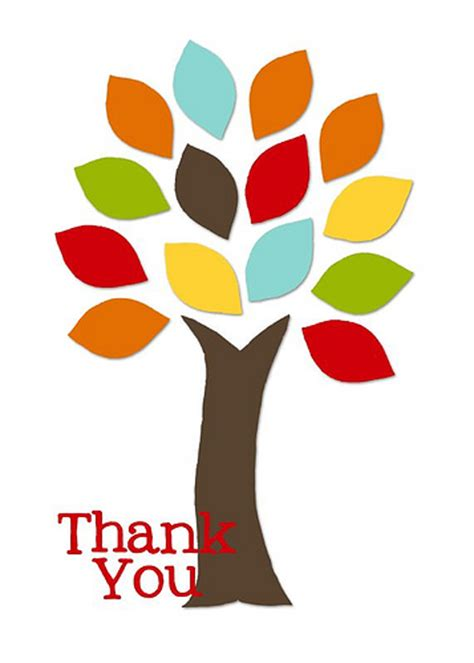 thank you card template with tree fall thank you clipart clipart suggest