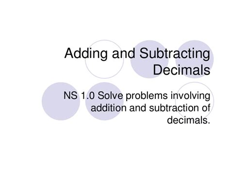 Powerpoint On Adding And Subtracting Decimals Notes