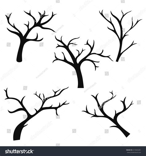 Hand Drawn Tree Branches Collection Set Stock Vector 415943281 Shutterstock Tree Collection Of Design Elements Stock Vector Illustration Of Icon Botany 32428346