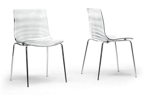 Clear Plastic Dining Chairs Baxton Studio Marisse Clear Plastic Modern Dining Chair Set Of 2 Wholesale Interiors