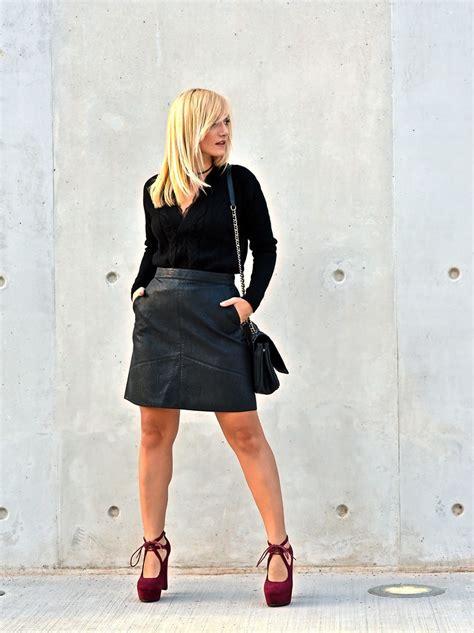 evi mili stradivarius black sweater zara leather skirt