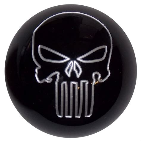 Shift Knob Skull by Black W Silver Punisher Skull Shift Knob