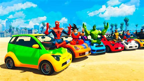 funny small cars fun color small cars football with superheroes cartoon for