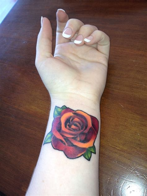 orange rose tattoo simple orange design