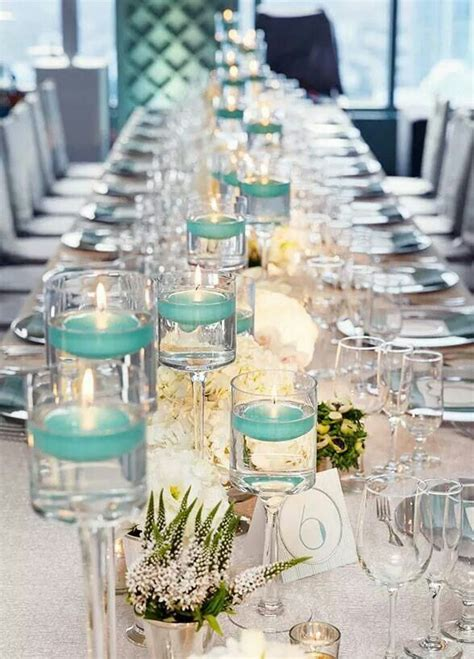 wedding centerpieces with candles and pearls teal and white wedding wedding centerpieces