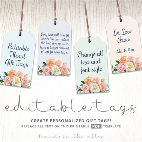 printable floral gift tags label template in the