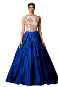 wear gowns buy blue georgette embroidered semi stitched wear