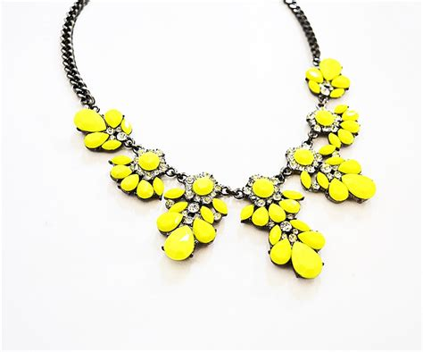 Yellow Neckles neon bib necklace yellow floral necklace made of