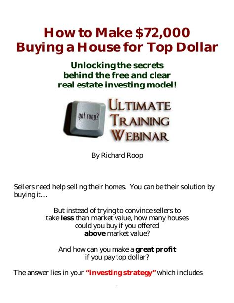 how to buy a house for a dollar how to make 72 000 buying a house for top dollar