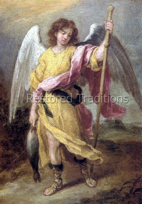 the archangel raphael carrying a fish by artist esteban