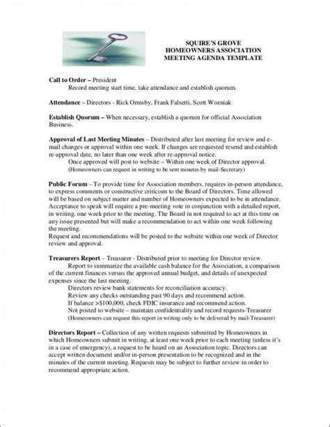 10 Board Agenda Sles Templates Sle Templates Hoa Directory Template