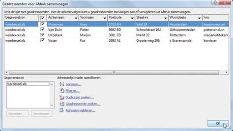 Brief Word Samenvoegen Adressen Excel Excel Naar Word Computer Idee