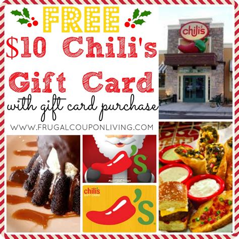 Chili S Gift Card Discount - chili s free 10 gift card card additional holiday bonus gift cards