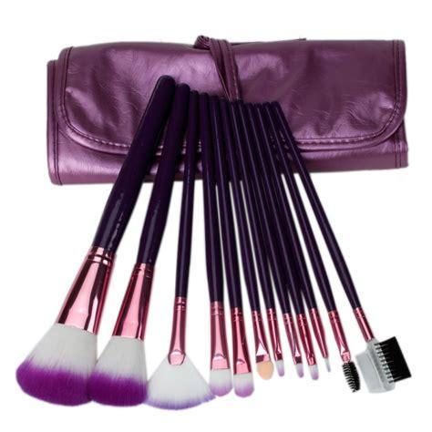 brush set purple 12pcs professional cosmetic makeup brush set with bag