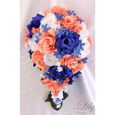 coral flowers coral navy blue coral blue navy royal white bouquets corsages