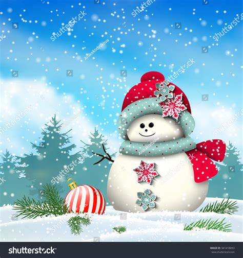 cute winter themes cute snowman snowy winter landscape christmas stock vector