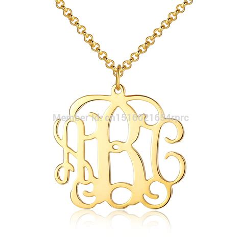 custom made 1 25 quot monogram initial name gold necklace