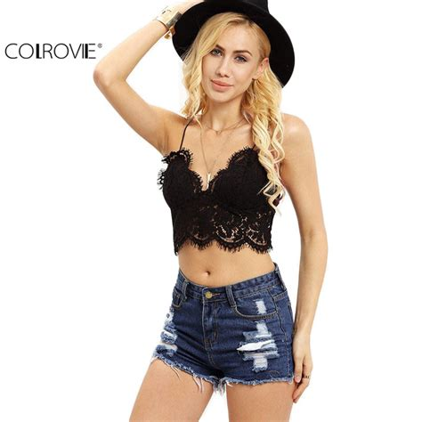 29797 Summer Crop Top colrovie lace insert new summer style crop tops hollow sleeveless fashion black