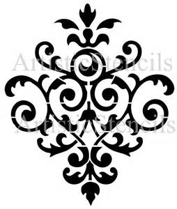 Chandelier Ornament Vintage Damask Wallpaper Background Stencil No By