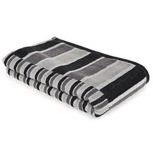 wilko stripe bath towel black grey at wilko