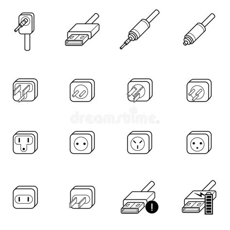 electric outlet cable wire and icon stock vector