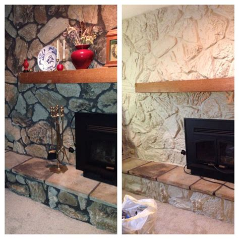 painted  stone     frame   mantel