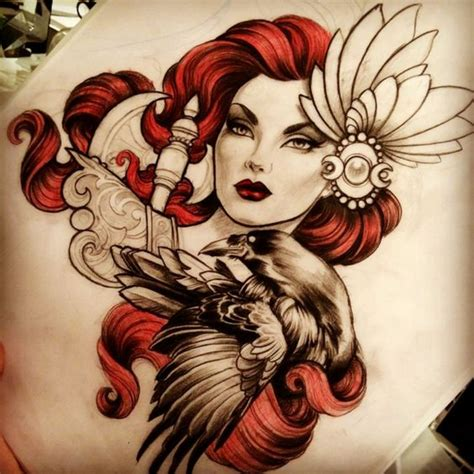 new school girl tattoo designs pretty new school red haired girl and black raven tattoo