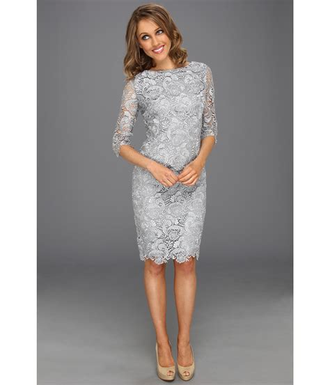 Sleeve Sheath Lace Dress lyst eliza j 3 4 sleeve lace sheath dress in gray