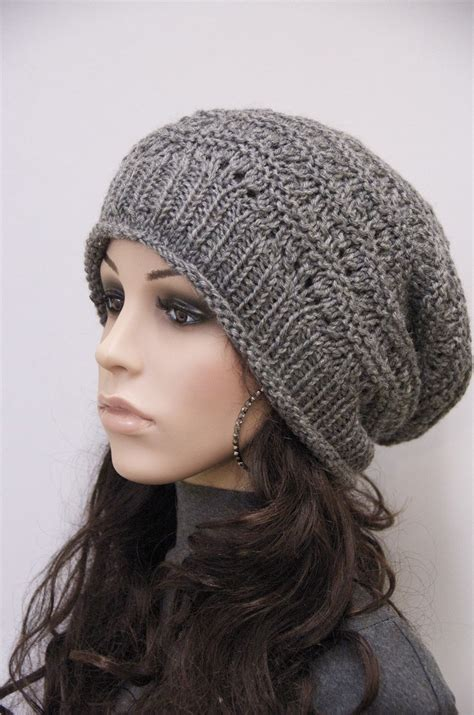 knitting pattern slouchy hat knit hat charcoal chunky wool hat slouchy hatwool by maxmelody