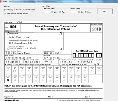 sle 1096 form filled out w2 1099 misc printing and e filing software free trial