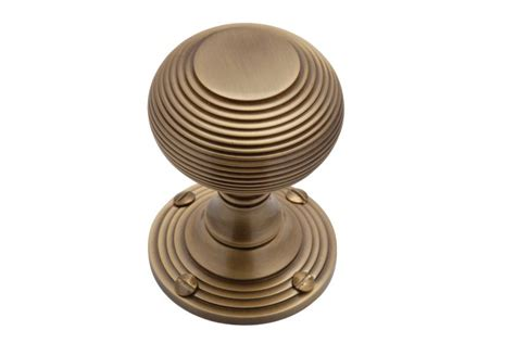 reeded mortice knob in antique brass handles