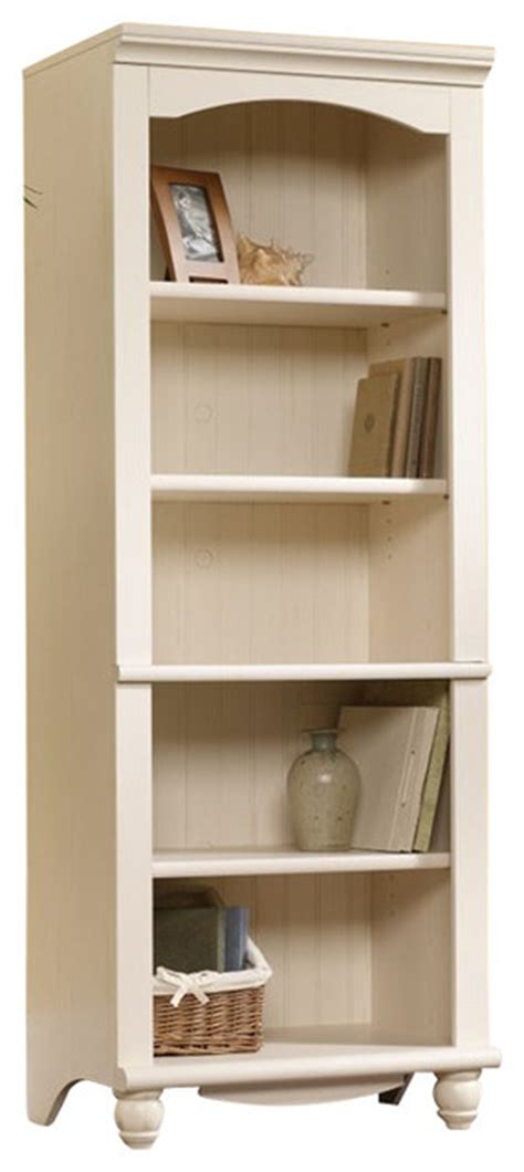 Sauder Harbor Bookcase Sauder Harbor View Library 5 Shelf Bookcase In Antiqued White Finish Transitional Bookcases
