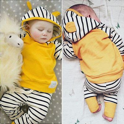 Baby Victory Boy 3y 2 2pcs toddler clothes newborn baby boys 3d hooded tops sweatshirt striped