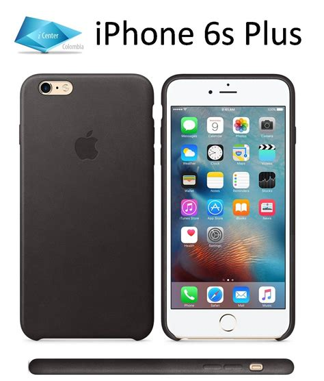 carcasa estuche funda cuero iphone 6 plus 6s plus con manzana caja